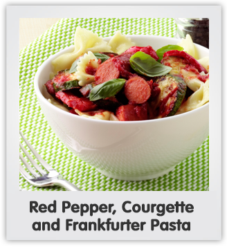 Red Pepper, Courgette and Frankfurter Pasta