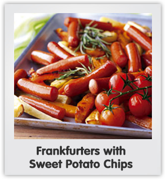 Frankfurters with sweet potato chips
